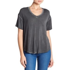 Abound Washed V-Neck Hi-Lo Tee Shirt XS Gray